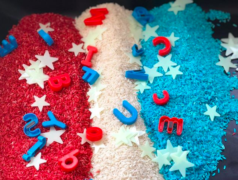 This patriotic, red, white and blue sensory bin makes a fun Fourth of July activity for younger kids