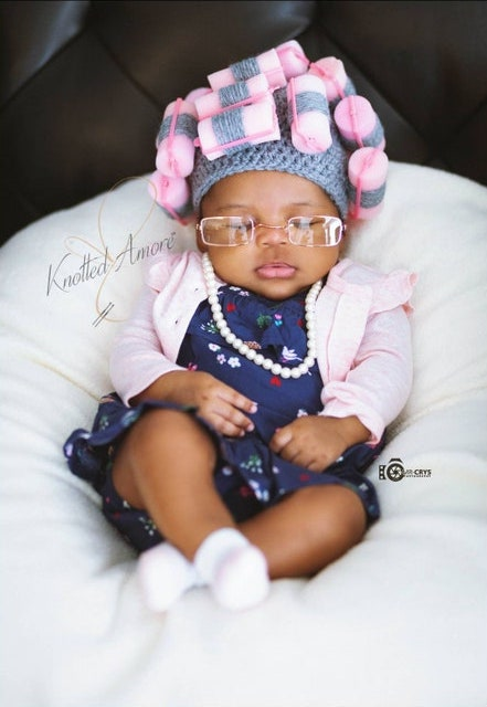 This granny in curlers hat costume has to be one the cutest baby costumes of the year.