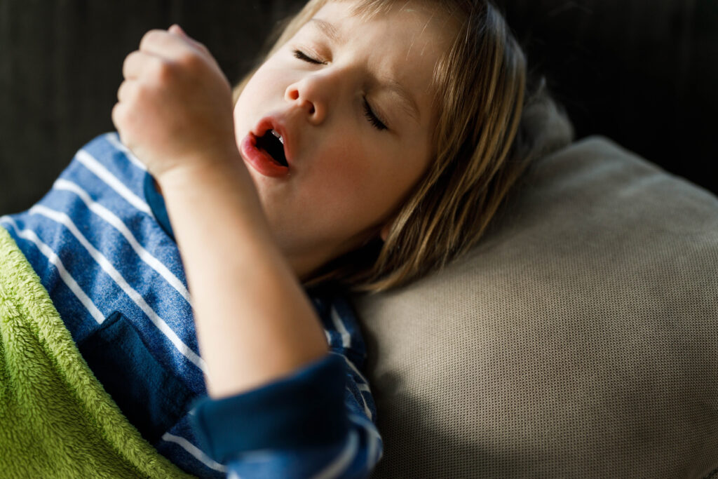 Young ill child with croup cough