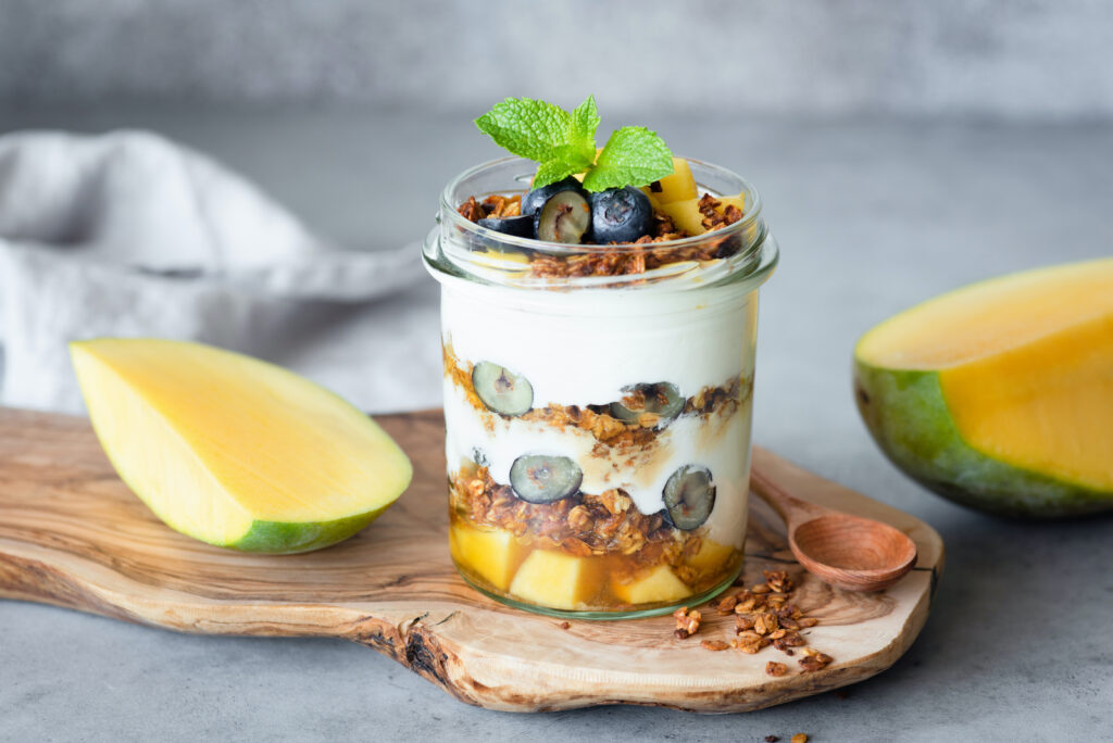 This breakfast yogurt parfait with granola is an easy breakfast kids can make themselves
